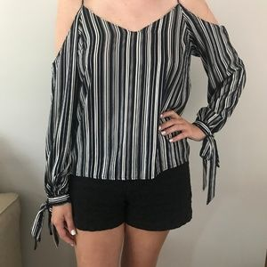 Navy & Silver Striped Lush Cold Shoulder Top